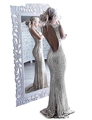 YSMei Women's Long Mermaid Sequins Evening Dresses Open Back Scoop Prom Formal Gown Silver 8