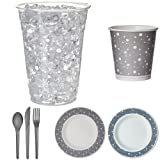 Eco-Products Colors Gray Party Pack, Disposable Dinnerware Set Includes Renewable and Compostable Plates, Hot Cups, Cold Cups, and Cutlery