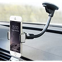 Cell Phone Holder for Car, Flexible Arm Universal Windshield Car Phone Mount with Strong Suction Cup for iPhone X SE 7 Plus 6s 6 Plus 6 5s 5 4s 4 Samsung Galaxy S6 S5 S4 LG Nexus Sony Nokia and More