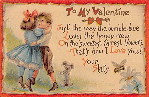 To My Valentine Children Couple Kissing Bumble Bee Antique Postcard K97427 ()