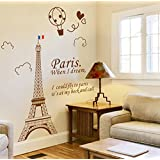 ufengke® Eiffel Tower In Paris Wall Decals, Living Room Bedroom Removable Wall Stickers Murals, Brown