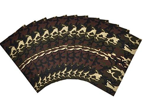 T&Z 100% Cotton 12 Pack Fine Bandanas Professional Factory Manufactured (Camouflage)