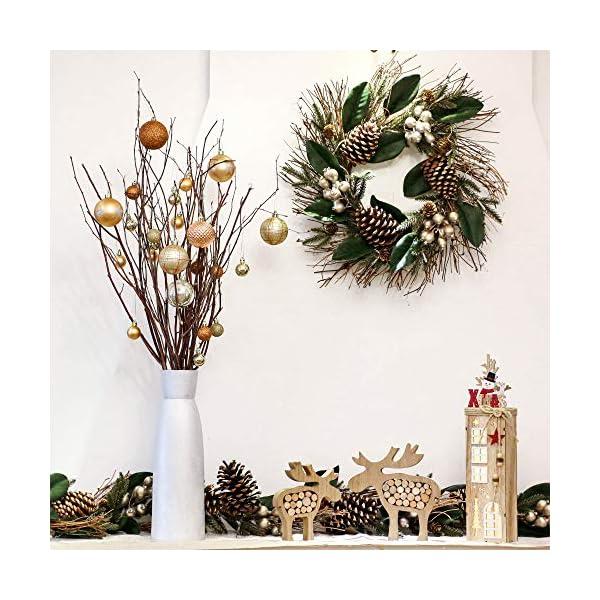 Valery Madelyn Palle di Natale 30 Pezzi 6cm Palline di Natale, Rame da Bosco e Oro Infrangibile Ornamenti Palla di Natale Decorazione per Albero di Natale Decor 7 spesavip