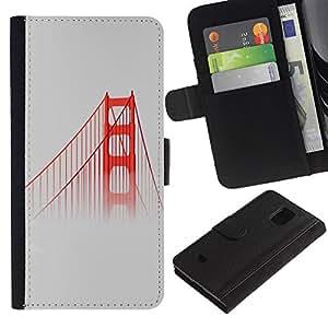 Be Good Phone Accessory // Caso del tirón Billetera de Cuero Titular de la tarjeta Carcasa Funda de Protección para Samsung Galaxy S5 Mini, SM-G800, NOT S5 REGULAR! // San Fransisco Bridge Red Usa Mist Fog Nature