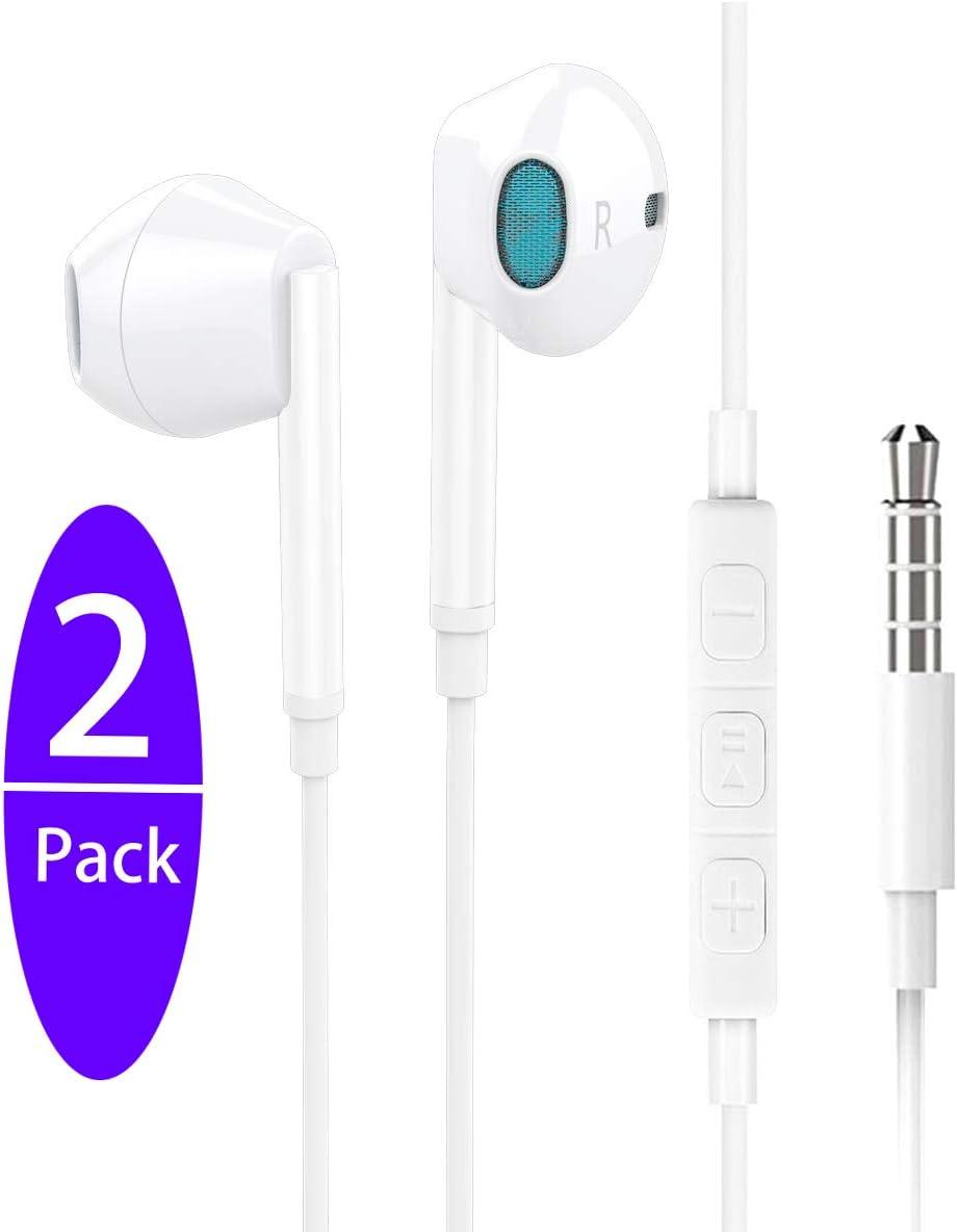 2Pack /Écouteurs avec Micro et t/él/écommande /Écouteurs Isolant du Bruit Haute Qualit/é Audio St/ér/éo 3.5mm pour iPad//iPod//Smartphones Android et MP3 etc /Écouteurs Intra-Auriculaires