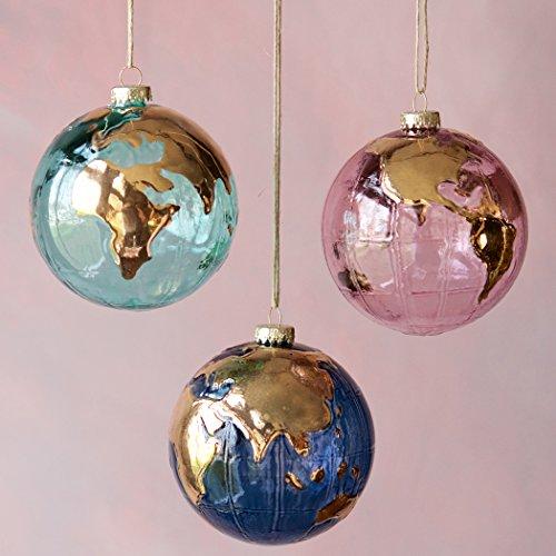 Glass Earth Globe Ornament (Pink) ()