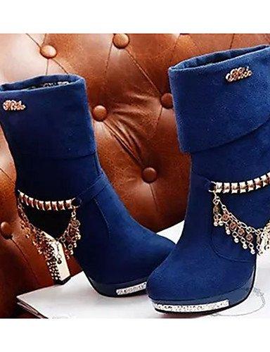 GGX/ Damen-High Heels-Lässig-Vlies-Stöckelabsatz-Absätze-Schwarz / Blau blue-us8 / eu39 / uk6 / cn39