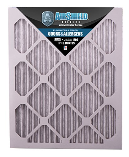 AirShield 60001-212-0013 Odors & Allergens MERV 8 OdorBan Furnace Filters with Activated Carbon (12 Pack), 12 x 24 x 1