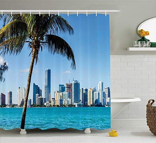 Ambesonne Coastal Decor Shower Curtain by, Miami Downtown with Biscayne Bay Buildings and Palm Tree Panoramic, Fabric Bathroom Decor Set with Hooks, 70 Inches, Sky Blue Aqua - Bay Miami Biscayne