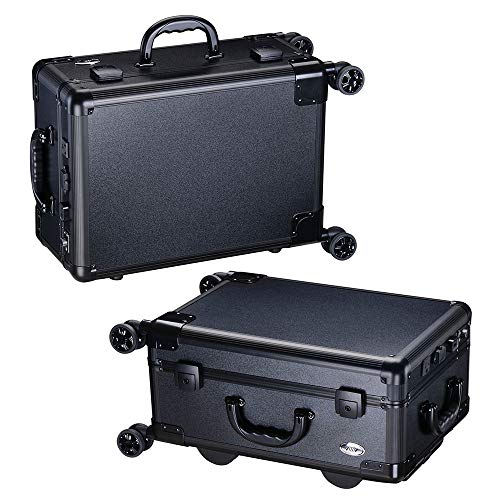 AW Rolling Makeup Case 12x8x20'' with LED Light Mirror Adjustable Legs Lockable Train Table Studio Artist Cosmetic by AW (Image #8)