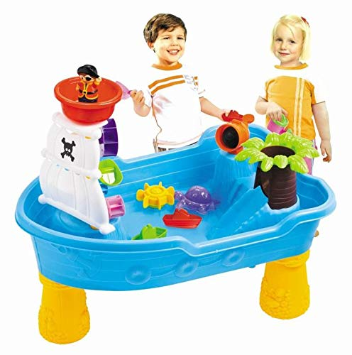 Pirate Ship Water Table for Kids - Toddler Pirate Ship Sand /Water Table - Detachable Legs - Scoop- Cup and buckets - Indoor and Outdoor kids toy set by Lenoxx