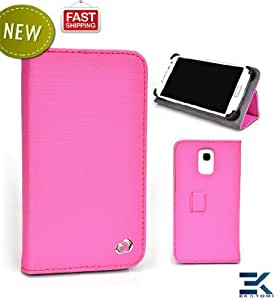 [M Smart Accord] HTC Raider 4G Phone Case with Stand - PINK | Universal Mobile Book Folio Cover. Bonus Ekatomi Screen Cleaner