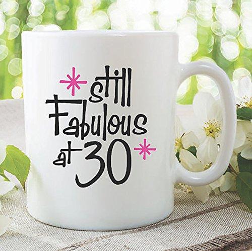 Birthday Mug Still Fabulous At 30 Best Friend Daughter Birthday Gift Coffee Mug Tea Cup Printed Ceramic Coffee Mugs Gift For Her, 11oz - Fabulous Cat Sunglasses