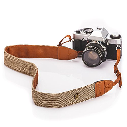 TARION Camera Shoulder Neck Strap Vintage Belt for All DSLR Camera Nikon Canon Sony Pentax Classic White and Brown Weave (Pentax Strap)