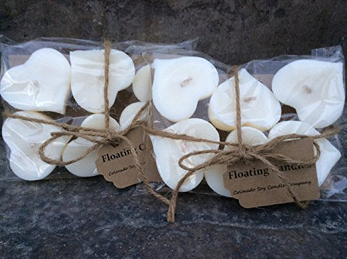 Floating candles. Wedding candles. Wedding centerpieces. Soy candles. Floating Hearts. White Candles.