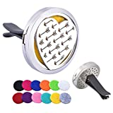 HooAMI 30mm Car Aromatherapy Essential Oil Diffuser Stainless Steel Heart Locket Air Freshener with Vent Clip 12 Felt Pads