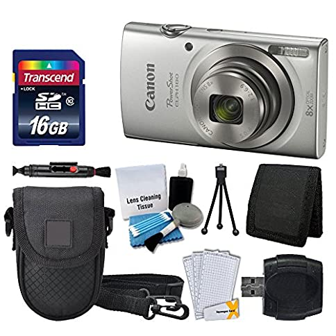 - 51wD4i7cm0L - Canon PowerShot ELPH 180 Digital Camera (Silver) + Transcend 16GB Memory Card + Point & Shoot Camera Case + USB Card Reader + LCD Screen Protectors + Memory Card Wallet + Cleaning Pen + Accessory Kit
