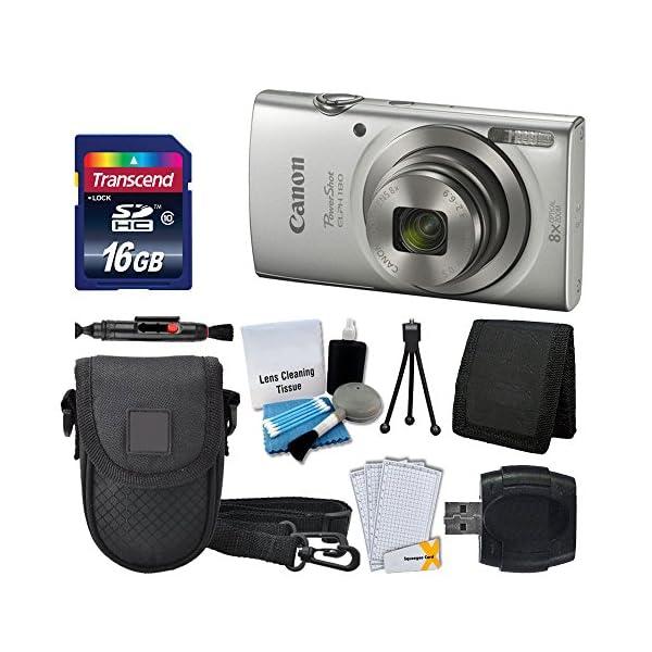 51wD4i7cm0L. SS600  - Canon PowerShot ELPH 180 Digital Camera (Silver) + Transcend 16GB Memory Card + Point & Shoot Camera Case + USB Card…