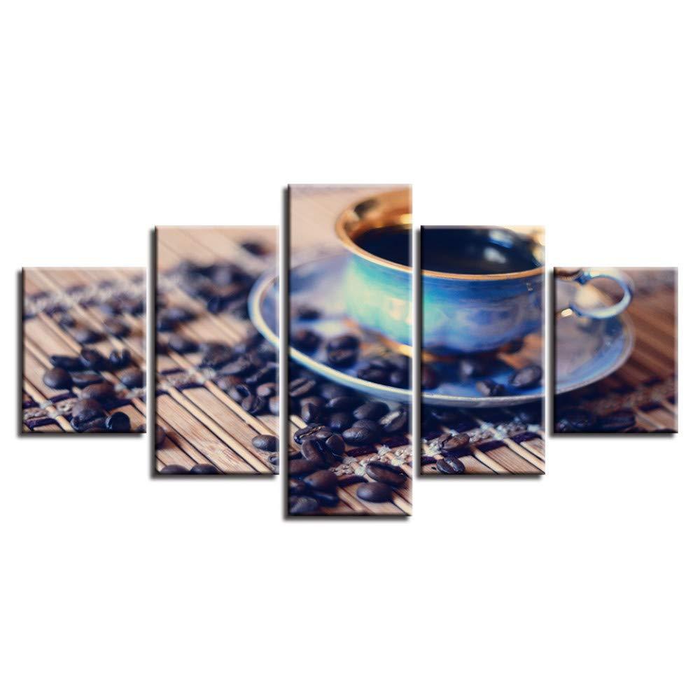 DYDONGWL Marco Lienzo Obras Cuadros Modulares Obras Lienzo de Arte Impresiones en HD 5 Piezas Café y Granos de Café Pinturas Decoración de Carteles para la Sala de Arte de Pared fc5ba0