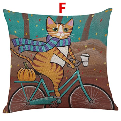 Fulijie Throw Pillow Covers, Pillow Case with Cute Cat Print Linen Cushion Cover 18 X 18 Inch for Couch Sofa -