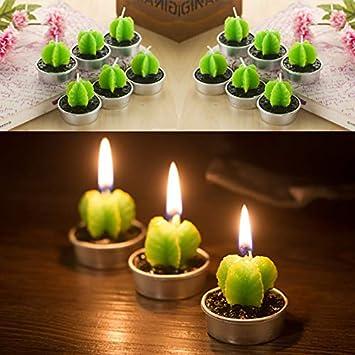 Bougie Style 2 4 x 3.5 cm 4/pcs Wicemoon Creative Cactus Bougie Cute Fleshy plantes en pot Bougie de mariage romantique pour les f/êtes danniversaire et d/écorations de mariage