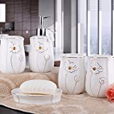WYMBS Christmas gift simple European-style ceramic bathroom toiletries five piece mug set ,gold Lotus