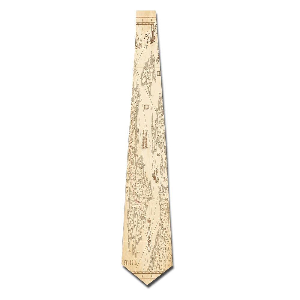 WuLion Highly Detailed Ancient Grunge Treasure Map Adventure Sailing Island Journey Travel Decorative Men's Classic Silk Wide Tie Necktie (8 CM)