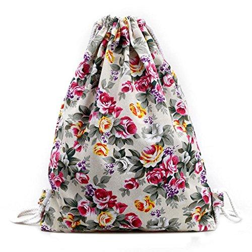 Bag Drawstring Shoulder Floral (Creazrise Women Backpack,Womens Drawstring Canvas Backpack Floral Print Shoulder Bag (White))