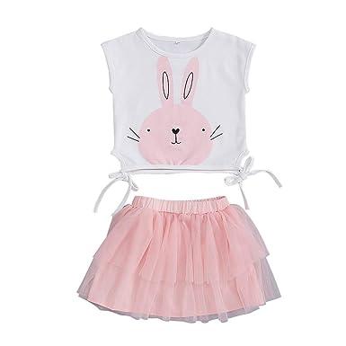 c792cbf9ce Transer_Vêtements Bébé Fille Enfant sans Manches Dessin animé Lapin Top T- Shirt +Maille Jupe