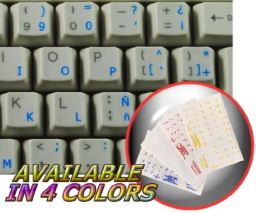 SPANISH (TRADITIONAL) KEYBOARD STICKERS WITH BLUE LETTERING TRANSPARENT BACKGROUND FOR DESKTOP, LAPTOP AND - Compaq Top