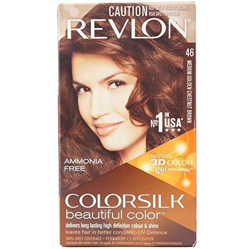 Revlon Colorsilk Beautiful Color, Medium Golden Chestnut Brown [46] 1 ea(Pack of 2)