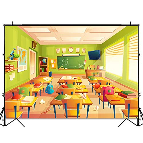 Funnytree 7x5FT Classroom Welcome Back to School Photography Backdrop for Kid Student Teacher Children Birthday Party Banner Learning Grad Background Photocall Photobooth Prop]()