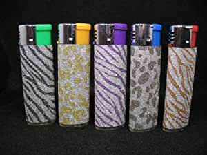 Glittering, Bling Bling, Regular Flame Electric Refillable Butane Lighter, Flame Adjustable, Bic Lighter Size, Lot of 5pcs