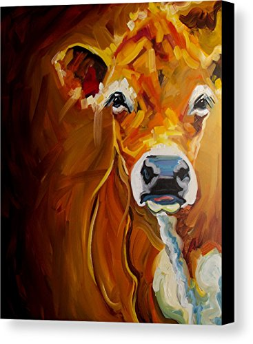 """Peek Cow"" by Diane Whitehead, Canvas Print Wall Art, 8"" x"