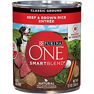 Purina ONE Natural Pate Wet Dog Food, SmartBlend Beef & Brown Rice Entrée - (12) 13 oz. Cans