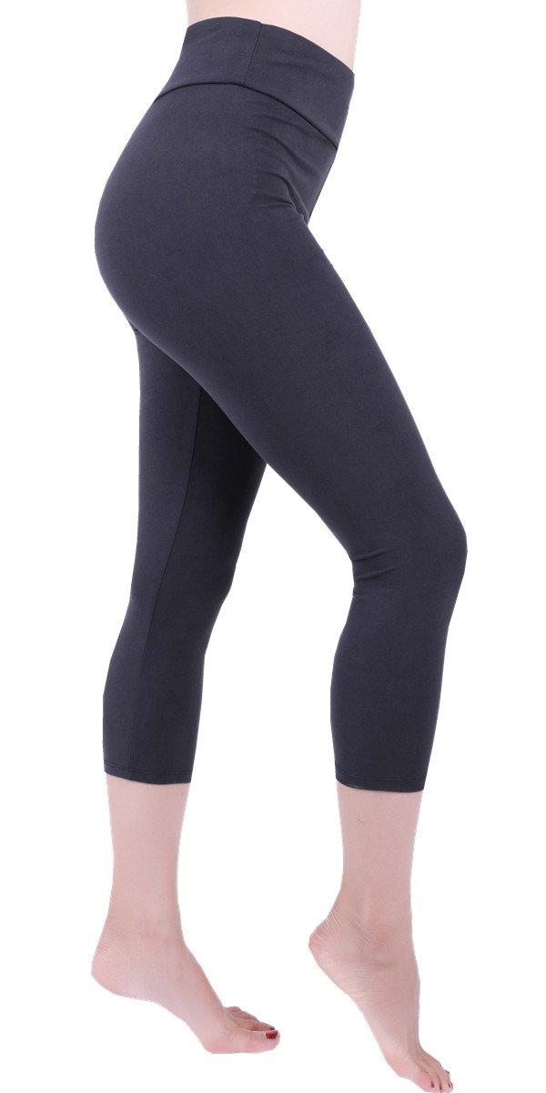 Solid Basic High Waist Yoga Capris Cropped Tummy Control Workout Running Leggings Pants for Women -HWC6 Black OS