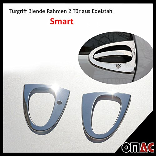 OMAC door handle, bezel frame, chrome plated stainless steel, pack of 2 pieces, for Smart Fortwo W451models built between 2007-2014