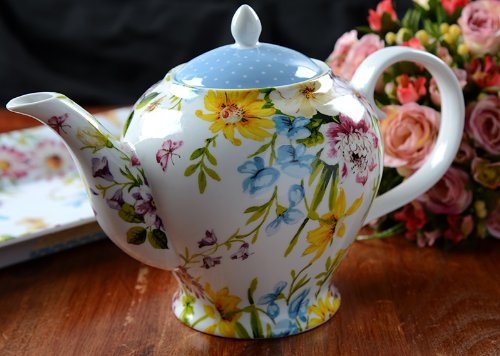 Katie Alice English Garden Shabby Chic 6 Cup Porcelain Teapot (English Garden Teapot compare prices)