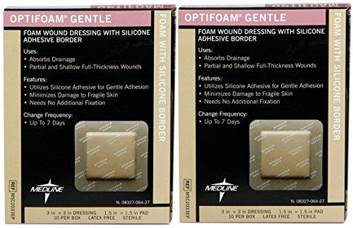 MSC2033EPZ - Medline Optifoam Gentle Border Adhesive Dressings 3 in x 3 in, 7.6 cm X 7.6 cm, 10 per box