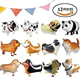 Little Dove 12 Pcs Walking Animal Balloons Pet Dog Balloons Dog Balloon Toys Air Walkers 12 Different kinds of Animals For Kids Gift Birthday Party Decor