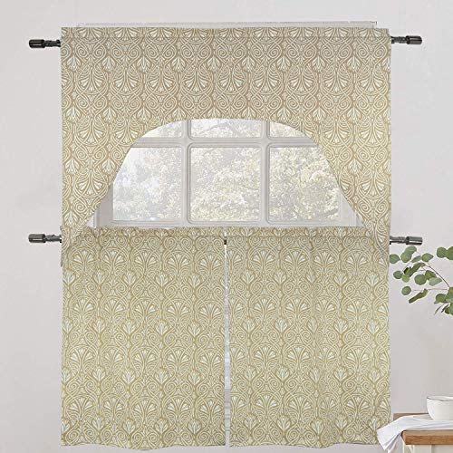 Tiny Break Cotton Beige Floral printed 3pc Kitchen Room Darkening Curtain and Valance Set -1 Swag Valance and 2 Tiers Pair - Floral Cotton Swag