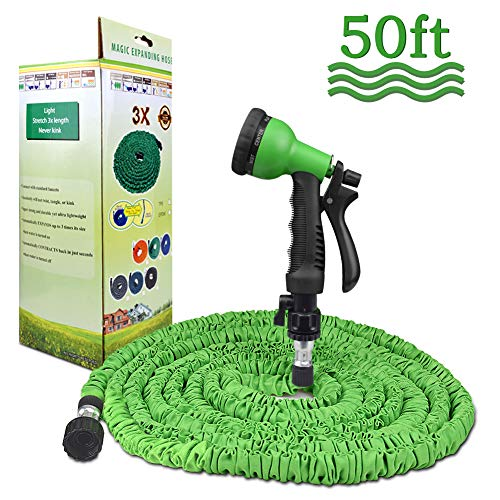 Garden Hose 50ft Water Hose 3 Times Expandable Water Pipe with 8 Function Spray Gun for Garden Plants and Cars Cleaning