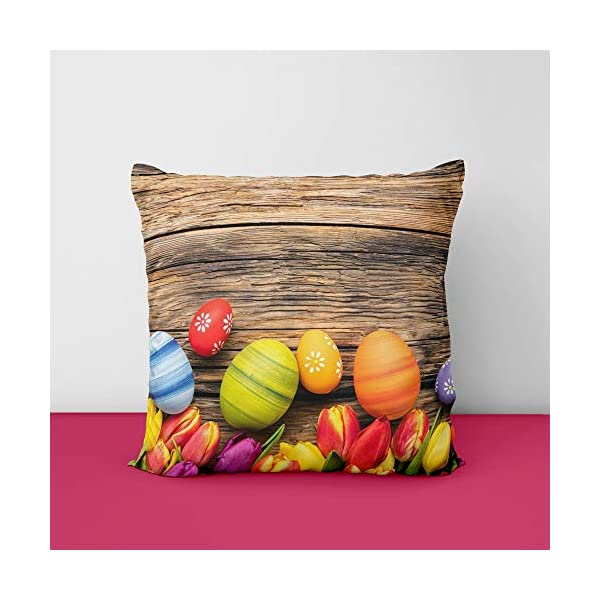 51wD7O9TByL Easter Culorful Eggs Square Design Printed Cushion Cover