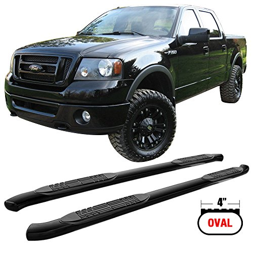 Side Step Bars Fits 2004-2008 Ford F150 Super Crew Cab | Black Powder Coat Finish Heavy Duty Steel Running Boards Nerf Bars By IKON MOTORSPORTS | 2005 2006 2007 - Nerf Bars Black Powder Coat