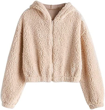 ZAFUL Women's Faux Fur Fuzzy Coat Full Zip Drop Shoulder Jacket Cropped Sweatshirts