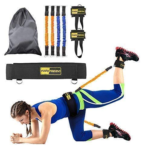 TOCO FREIDO Booty Resistance Bands Workout Program, Lift & Tone Your Perfect Butt for Football Soccer Basketball Taekwondo Yoga Boxing Kick Thai Punch Karate Running Training (Booty - Belt Training Resistance