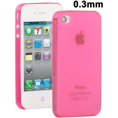 Cover Case Custodia Ultrasottile Slim Semitrasparente Per Iphone 4 4S 0,3 Mm Magenta