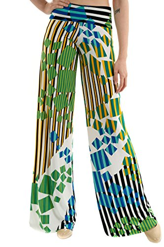 Uptown Apparel Womens Fold Over Waist Wide Leg Palazzo Pants, Good for Tall Curvy Women-Ships from USA