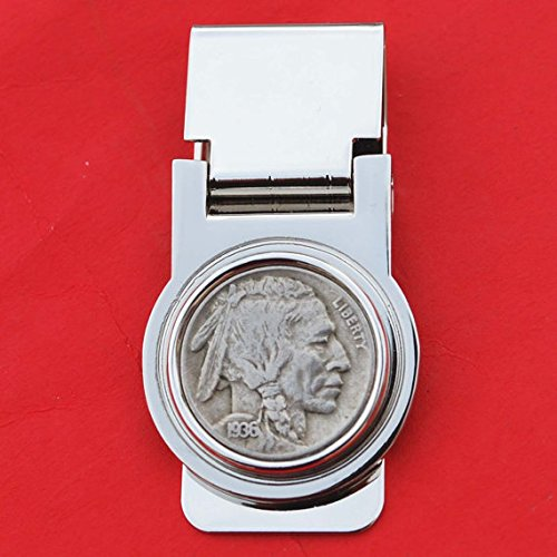 US 1936 Indian Head Buffalo Nickel 5 Cent Coin Hinged Money Clip NEW (5 Cent Coin With Indian Head And Buffalo)