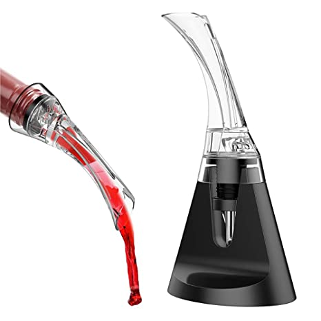 Aireador de Vinos Vertidor y Filtro de Vino con Soporte Expositor,El regalo perfecto para tu vinoteca Respirador Decantador